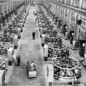 Nordberg radial diesel engines powering smelters at Kaiser